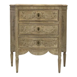 Modern History Home Carved 3 Drawer Chest For Sale