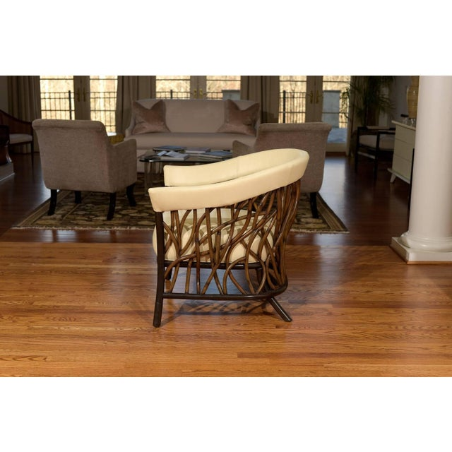 Stunning Pair of Rattan Club Chairs in Parchment Leather For Sale In Atlanta - Image 6 of 10