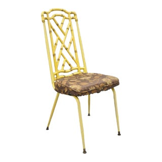 Yellow Hollywood Regency Metal Faux Bamboo Dining Chair