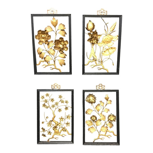 Asian Brass Wall Hangings - Set of 4 For Sale