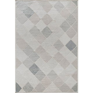 Mansour Modern Swedish Inspired Wool Handwoven Rug For Sale