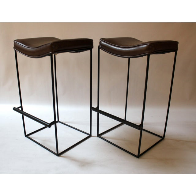 Mid-Century Modern Upholstered Iron Bar Stools - A Pair - Image 2 of 10