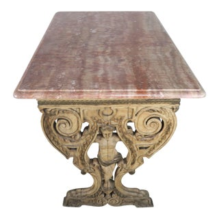 19th Century Carved Italian Walnut Figural Marble-Top Table For Sale