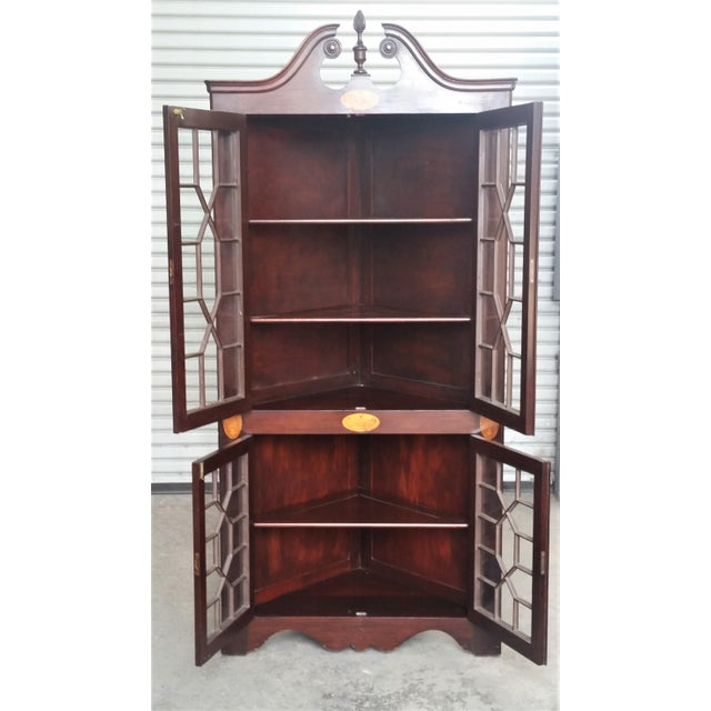 1900 - 1909 Antique Mahogany Corner China Cabinet For Sale - Image 5 of 13