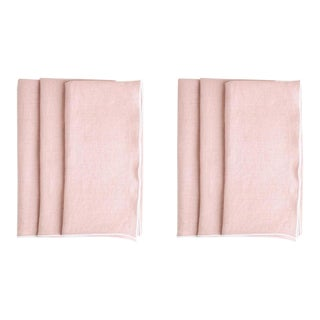 Rosewater with White Trim Linen Napkin - Set of 6 For Sale