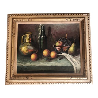 Original Vintage Still Life Painting With Fruit & Bottles Mid Century Modern Carved Wood Frame Signed For Sale