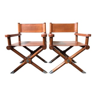 Ralph Lauren Home Modern Hollywood Leather Director's Chairs - a Pair For Sale