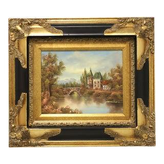 20th Century Original Oil on Board - German River Scene - Signed Mathilda For Sale