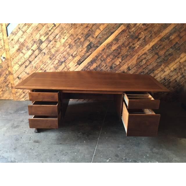 1970's Monteverdi Young Walnut Executive Desk - Image 9 of 9