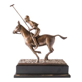 """Bronze Polo Player on Horse Sculpture 18"""" Tall Statue"""