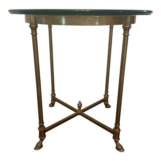 Vintage LaBarge Brass & Glass Round Side Table For Sale