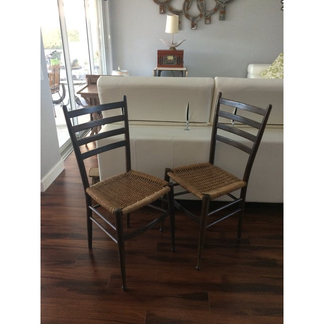 Vintage Italian Woven Seat Dining Chairs - A Pair - Image 2 of 11