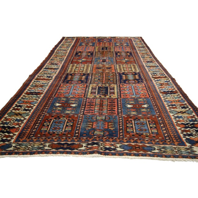 "Cabin Antique Bakhtiari Pink and Blue Wool Rug - 5'1"" X 10'4"" For Sale - Image 3 of 7"