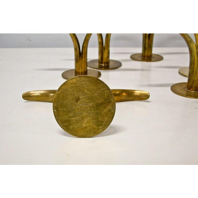 Gold Circa 1950 Grouping of 11 Swedish Ystad Metall Brass Candleholders For Sale - Image 8 of 11