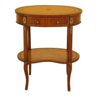 Maitland Smith Leather Top Mahogany End Table