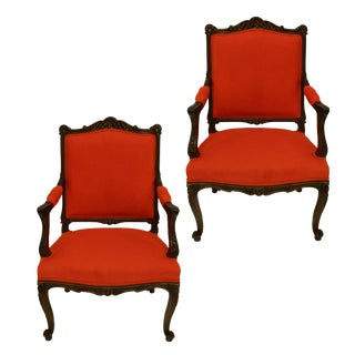 A Pair of French Walnut Armchairs For Sale