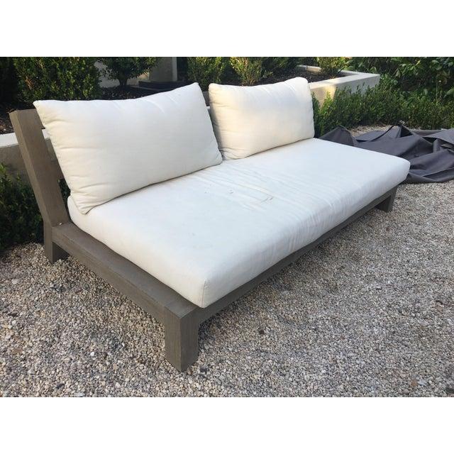 Restoration Hardware Contemporary Linen Weave Merida Sofa For Sale - Image 4 of 6