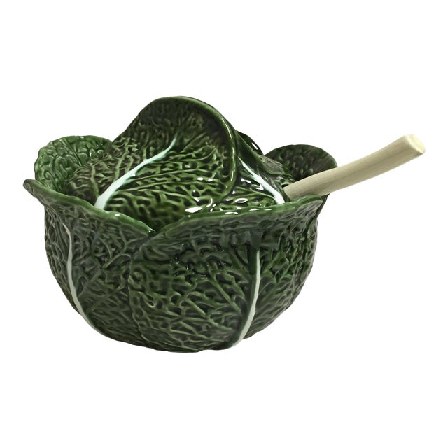 Green Cabbage Leaf Figural Tureen and Ladle For Sale