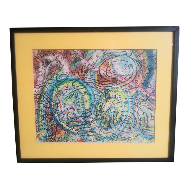 Vintage Unique Patterned Style Original Abstract Colorful Painting For Sale