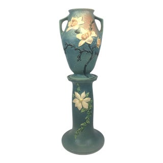 1943 Roseville Pottery Vase With Pedestal- Magnolia Motif For Sale
