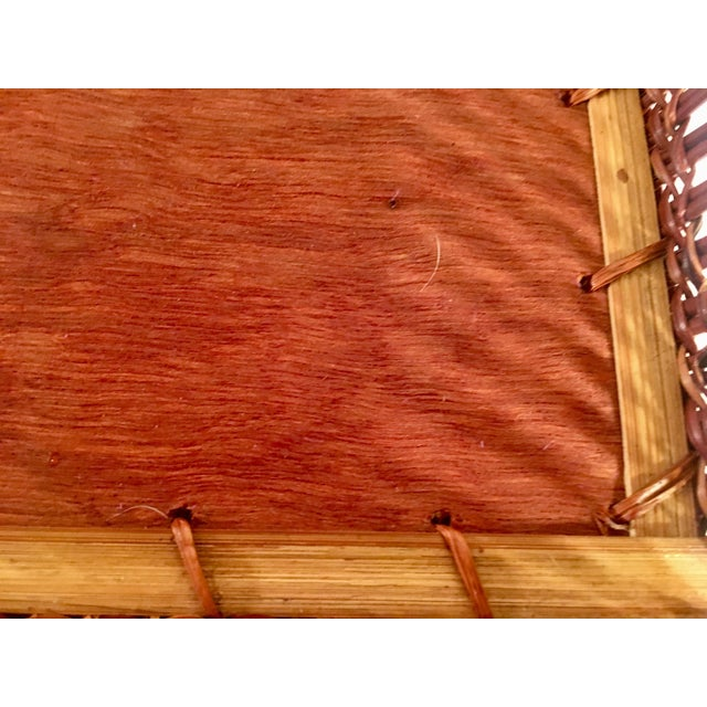 Mid-Century Rattan & Wood Leather-Handled Serving Tray For Sale - Image 10 of 13