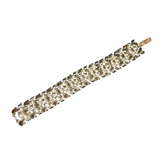 Coro Woven Silvertone Bracelet For Sale