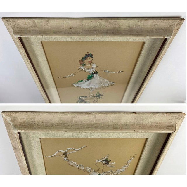 White Marcel Vertes Paintings - a Pair of Whimsical Dancers For Sale - Image 8 of 13