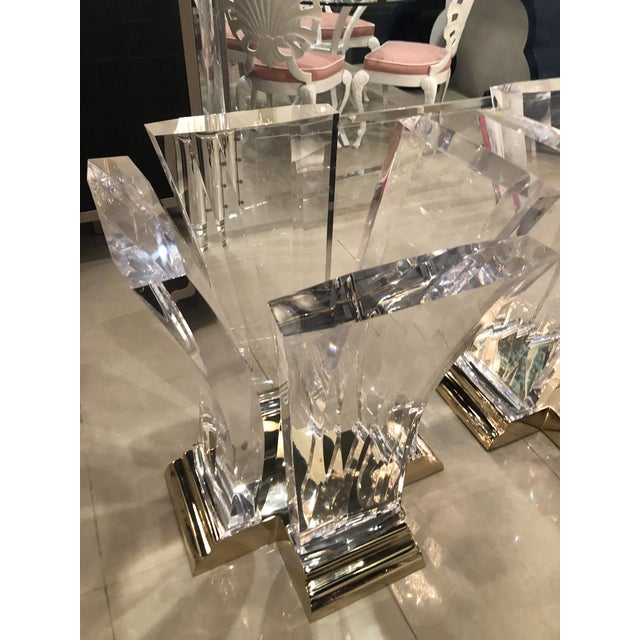 Vintage Jeffrey Bigelow Hollywood Regency Lucite and Brass Dining Table Bases - A Pair For Sale - Image 10 of 13