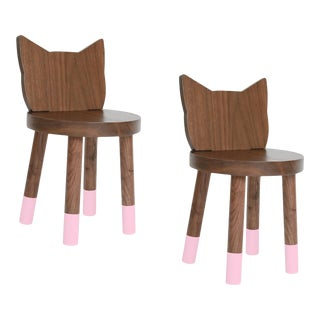 Nico & Yeye Kitty Kids Chair Solid Walnut and Walnut Veneers Pink - Set of 2 For Sale