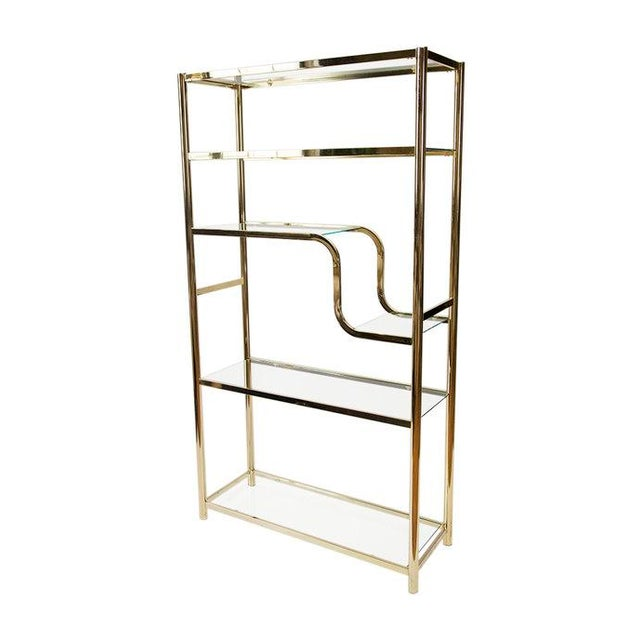 Milo Baughman Attributed Brass Etagere With Glass Shelves | Chairish