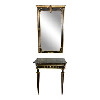 1950s Vintage Italian Black Painted and Gold Giltwood Marble Top Console & Mirror For Sale