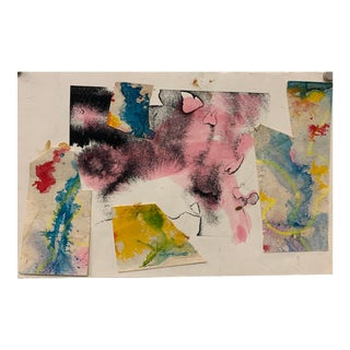 1960s Pink and Black Abstract Collage For Sale