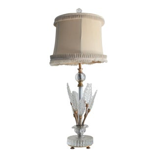 Vintage 1940's Art Deco Brass Table Lamp With Glass Leaf Accents For Sale