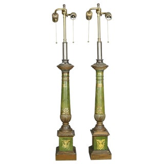 Pair of French Empire Tole Table Lamps For Sale