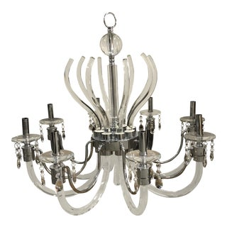 Modern Acrylic, Polished Chrome & Hanging Crystals Chandelier For Sale