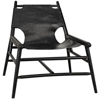 Tiger Chair With Leather, Charcoal Black For Sale