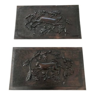 19th Century Black Forest Carved Wood Hunting Wall Plaques-a Pair For Sale