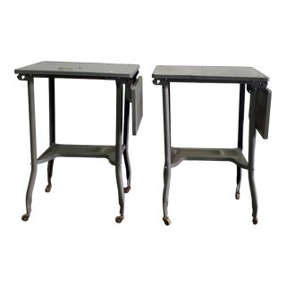 20th Century Industrial Typewriter Tables - a Pair For Sale