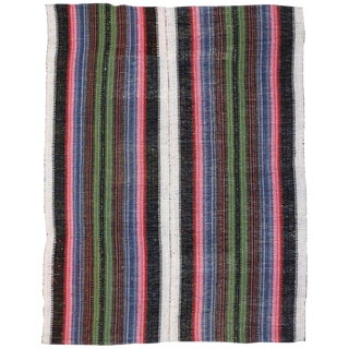 Vintage Mid-Century Turkish Jajim Kilim Rug - 6′1″ × 7′8″ For Sale