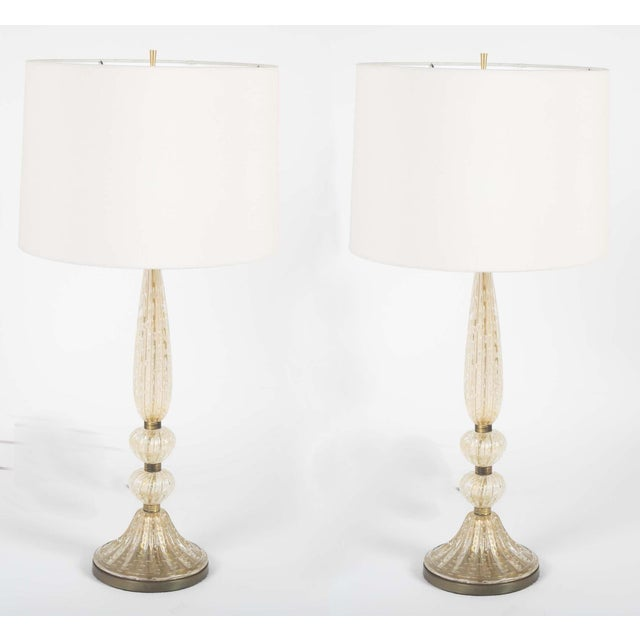 Mid 20th Century Bullicante Glass Table Lamps by Barovier & Toso - a Pair For Sale - Image 5 of 10