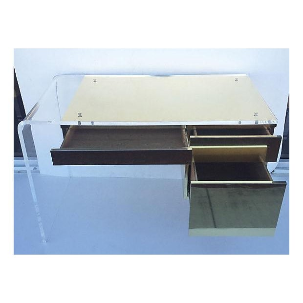 Vintage 1970s Lucite & Brass Desk - Image 3 of 10
