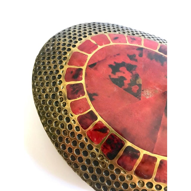 Red Vintage R & Y Augousti Ovoid Vase in Solid Bronze and Exotic Mosaic Pen-Shell For Sale - Image 8 of 13
