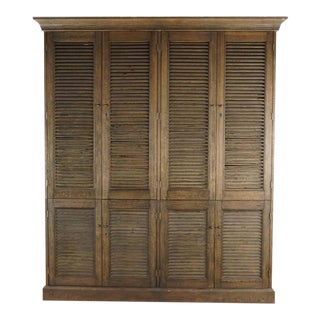 Rustic Restoration Hardware Shutter Double Armoire For Sale