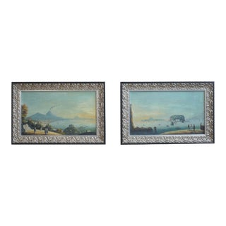 19th Century Italian Harbor Scenes Oil on Board - a Pair For Sale