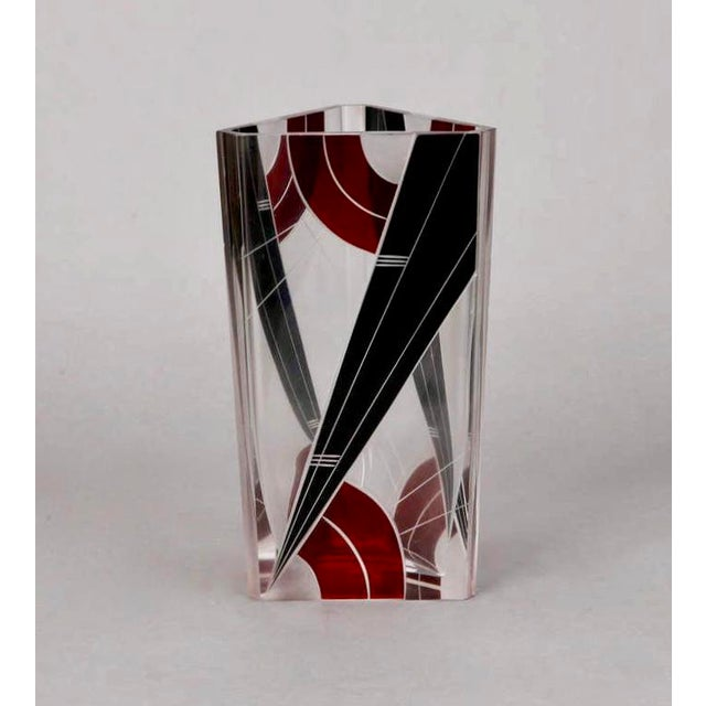 Circa 1930s Karl Palda clear faceted glass with ruby red and black enamel geometric designs. Excellent vintage condition...