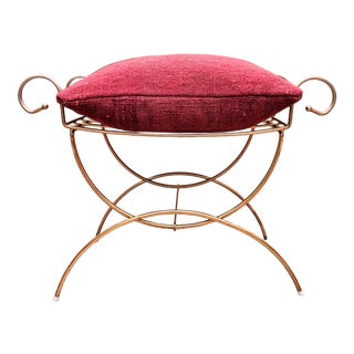 Regency Vanity Stool / Ottoman With Pink Kilim Pillow For Sale