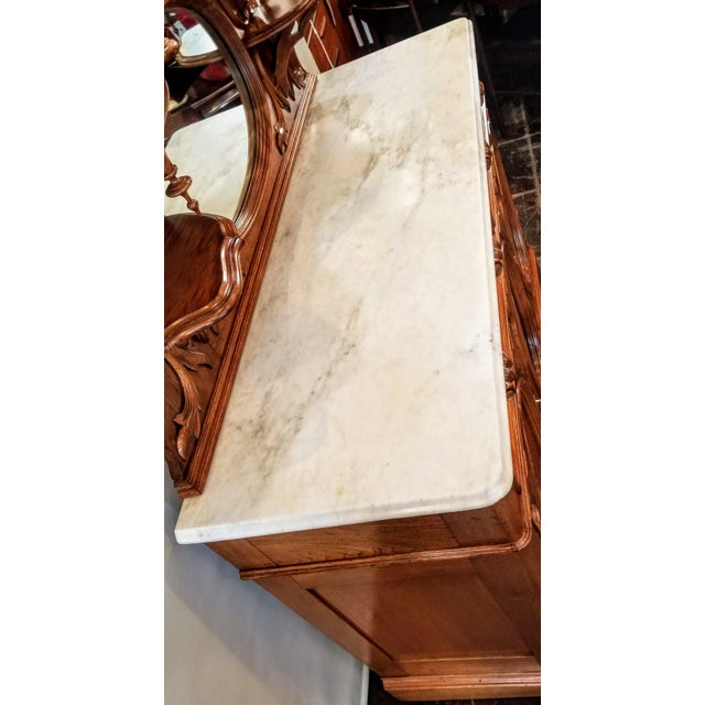 Late 19th Century American Victorian Gothic / Renaissance Revival Italian Marble Del Duomo Topped Sideboard For Sale - Image 5 of 13