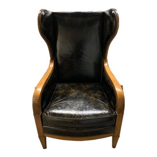 Baker Furniture Midcentury Modern Wood and Leather Recliner For Sale