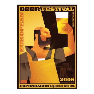Danish Modern Poster, European Beer Festival For Sale