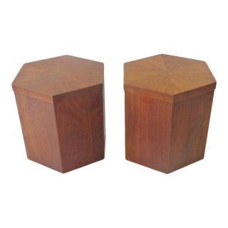 Lane Hexagonal Walnut Side Pedestal Tables - a Pair For Sale